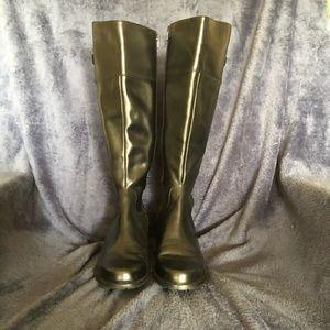 Anne Klein black leather boots.